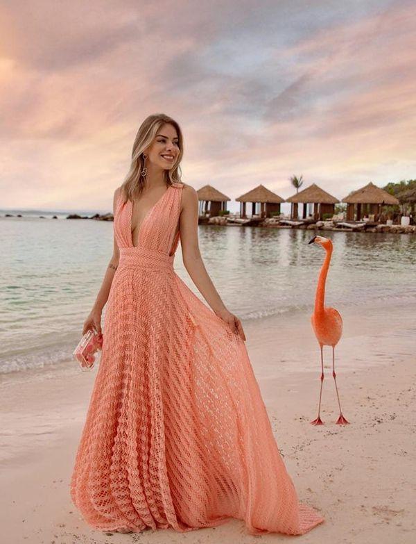 Vestido Festa Praia Casamento Fenda Decote