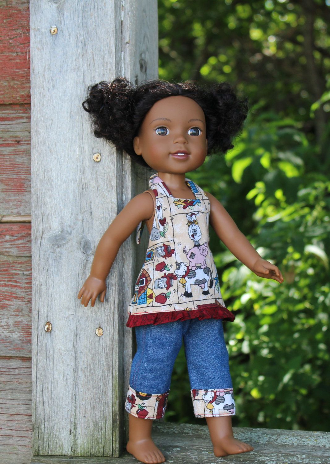 Play Clothes for the 14 inch dolls such as WellieWishers Halter top and Capri Denim pants by AmyViolets on Etsy
