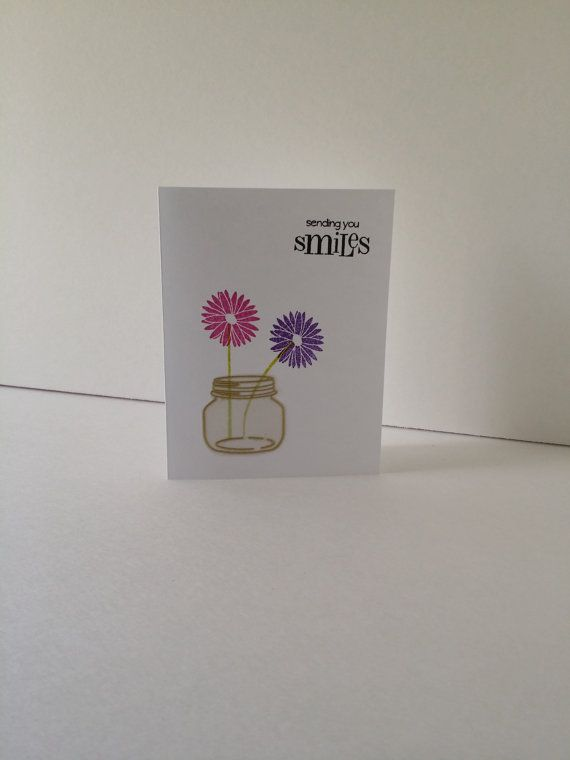 Handmade mason jar daisy greeting card $3