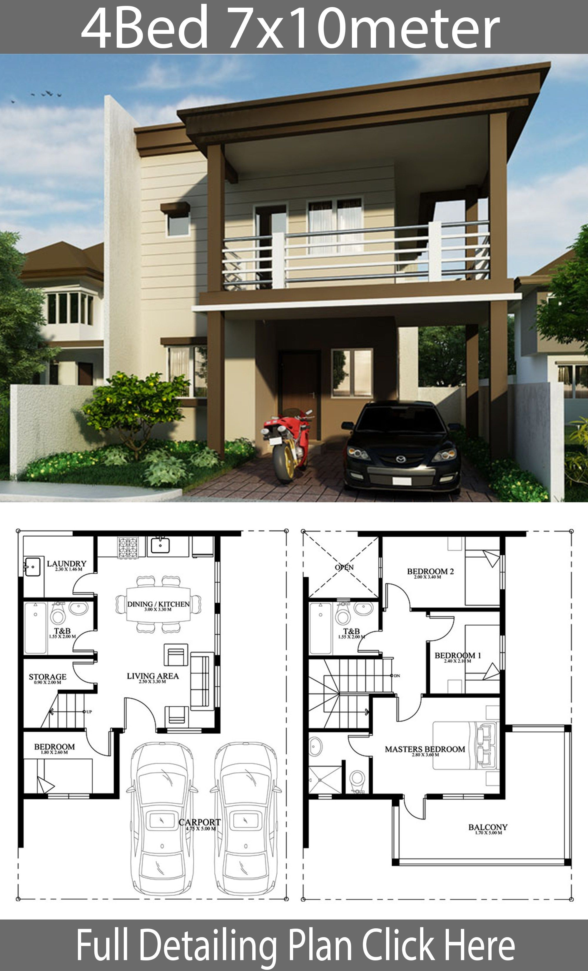 Home Design Plan 7x10m With 4 Bedrooms House Description One Car Parking And Gardenground Level Model House Plan House Front Design Small House Design Plans