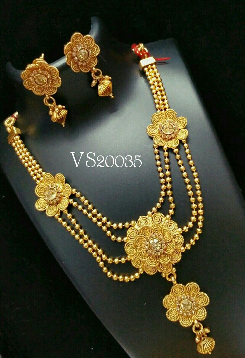 Bengali bridal gold jewellery - Indian Jewellery Antique Designer Floral Necklace Earrings Necklace Set South Indian Jewellery