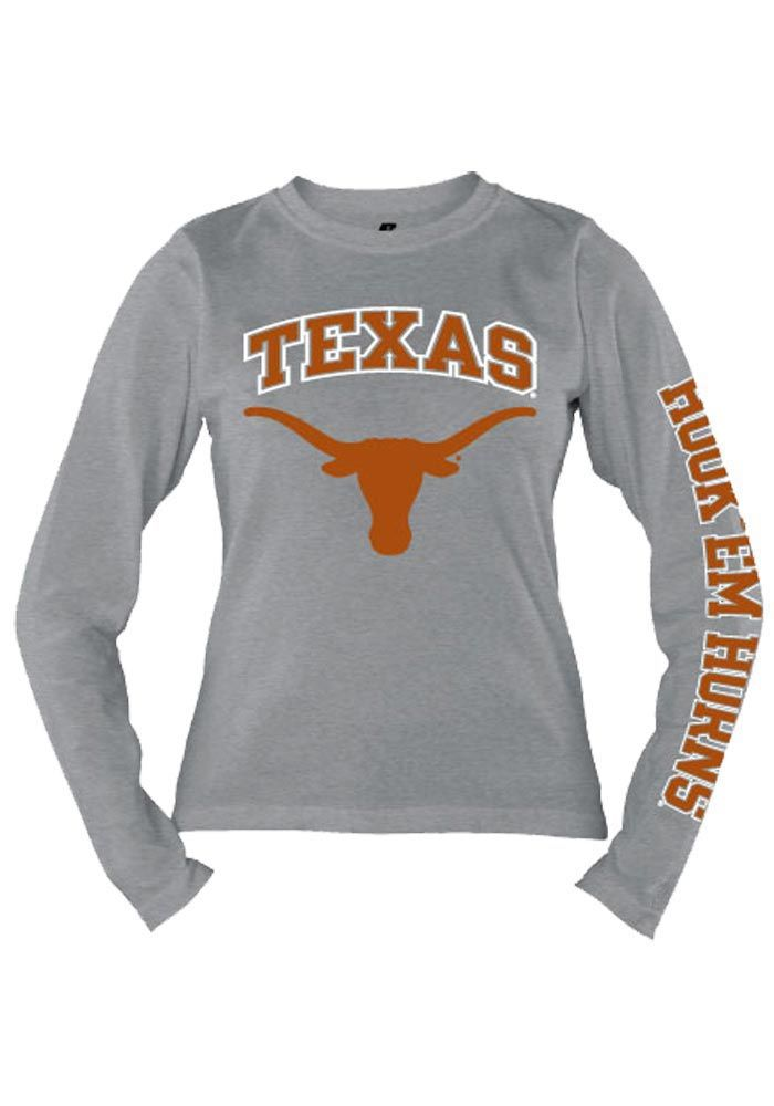 Texas Longhorns Russell T-Shirt - Longhorns Grey Longhorns Large Logo Long Sleeve