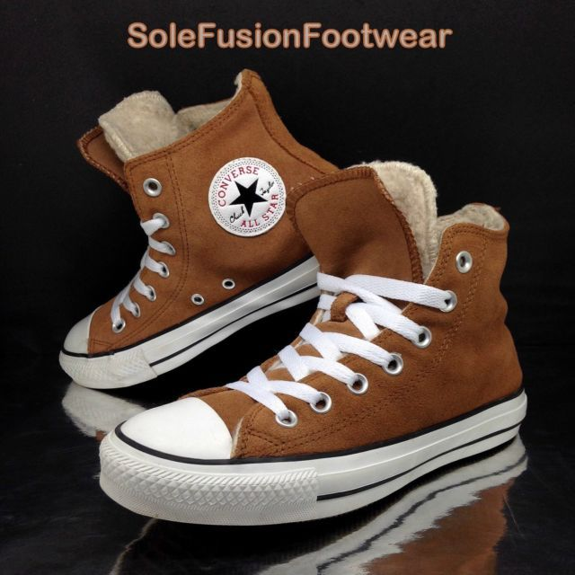 72b366e36053 Converse All Star Womens Leather Trainers sz 5 Suede Shearling High US 7 EU  37.5