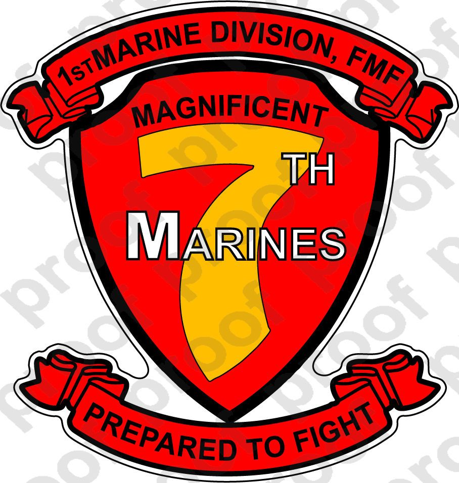 USMC Marine Corps 2nd Battalion 7th Marine Regiment Decal Sticker