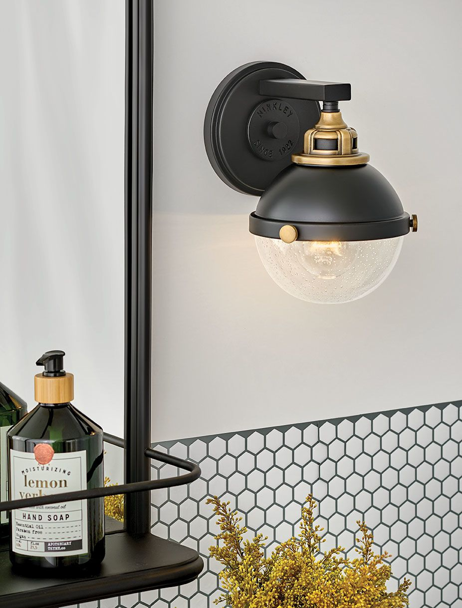 Vintage Style Bath Light By Hinkley In 2020 Bathroom Lighting Design Bathroom Lighting Interior Wall Lights