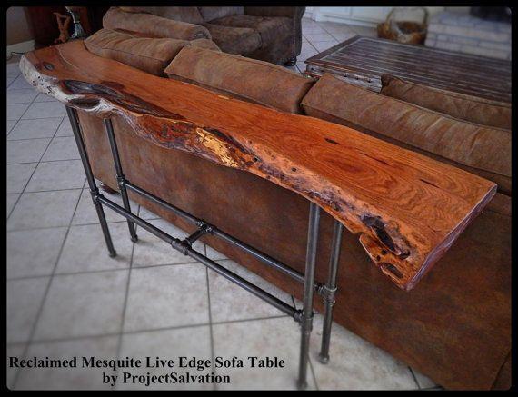 Live Edge Mesquite Sofa Table Reclaimed Mesquite Sofa Table Reclaimed Wood Sofa Table Live Edge Wood Table Mesquite Furniture Live Edge Furniture
