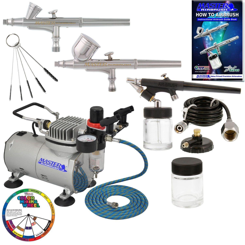 G22 Hose Air Compressor Airbrush Holder 3 Airbrush Professional Master Airbrush Multi-Purpose Airbrushing System Kit E91 Gravity /& Siphon Feed Airbrushes G25