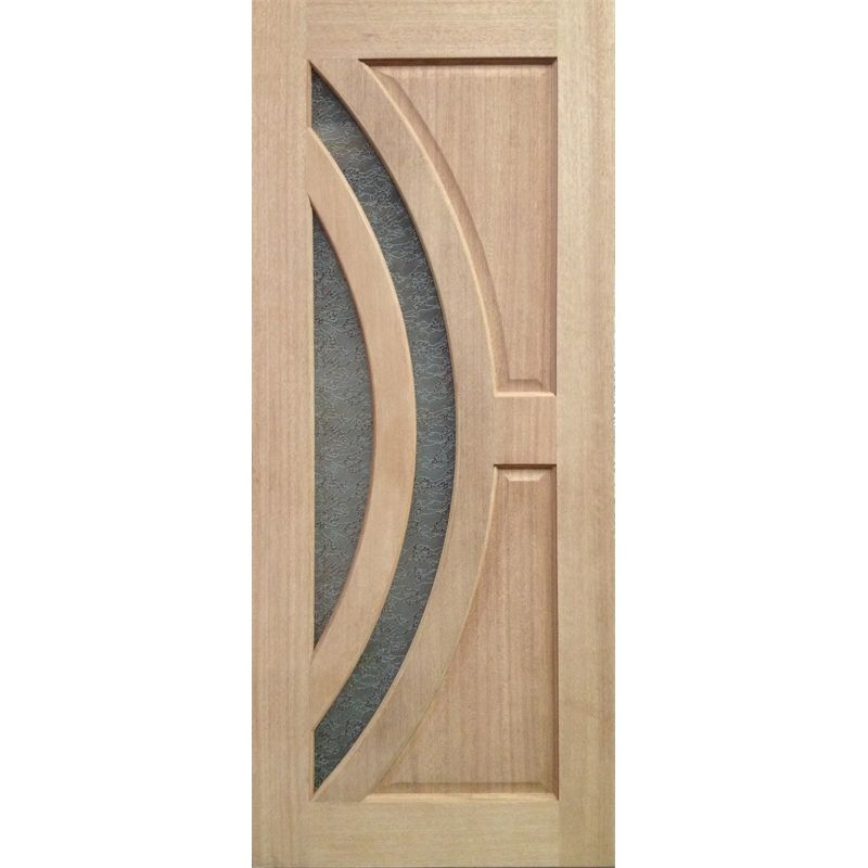 Woodcraft Doors 2040 X 820 X 40mm Maple With Delta Frost Safety Glass F45  Entrance Door
