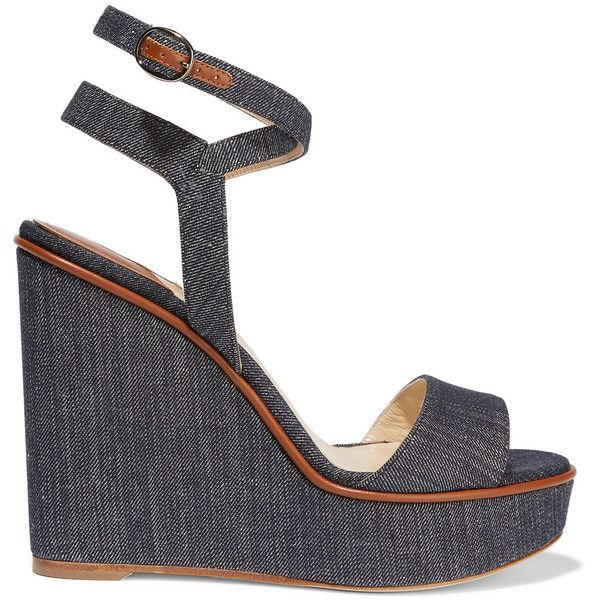 Paul Andrew - Laura Leather-trimmed Denim Wedge Sandals (€335) ❤ liked