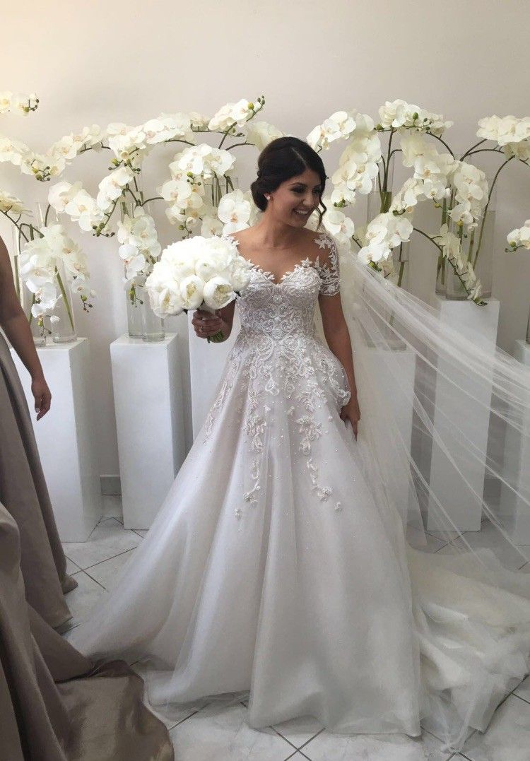 Used Steven Khalil Custom Made Wedding Dress For Us 3 300 Save On This Size 2 Floor Length Low Back A Line