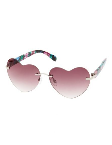 5ea9126cce Rimless Floral Print Heart-Shaped Sunglasses  Charlotte Russe!!! Bebe !!!  Love these heart shaped glasses!!!