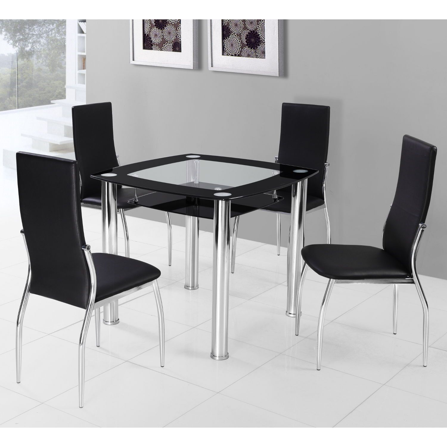 Modern Square Glass Dining Table With Chairs