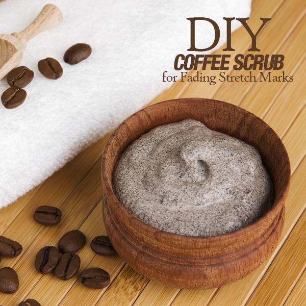 DIY Coffee Scrub for Fading Stretch Marks. Caffeine stimulates blood flow & circulation. Great for legs when on feet all day!