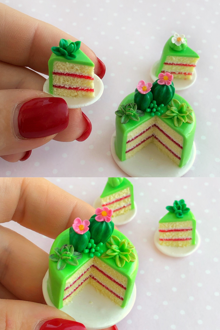 Miniature food for dollhouse fake cactus cake with two | Etsy #dollcare