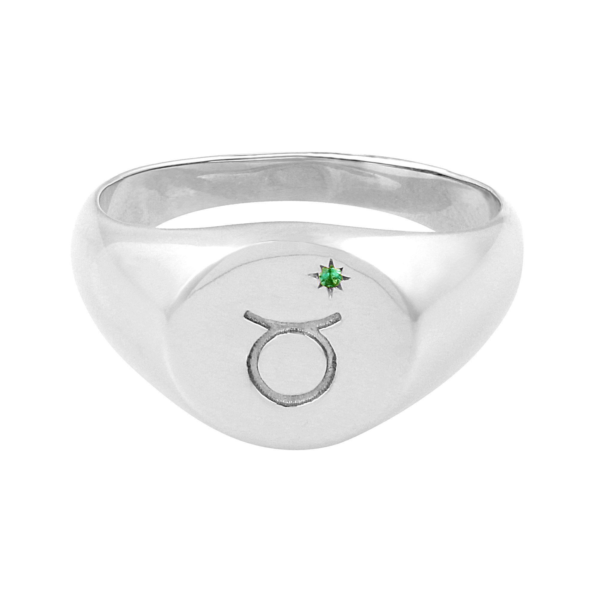 Zodiac Signet Ring Silver - Gemini / 8