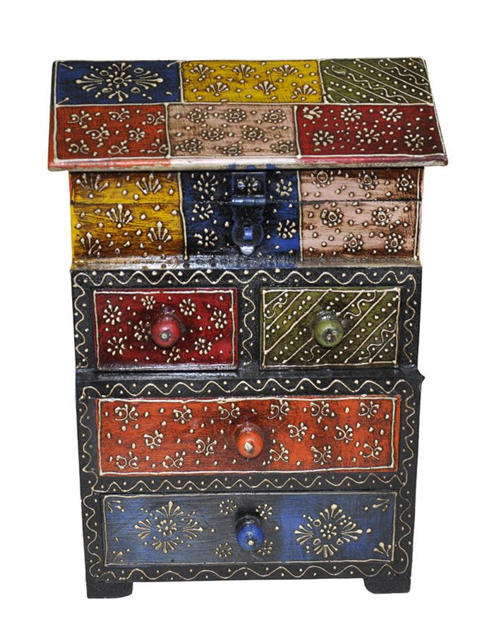Indian Home Decor Handmade Painted Antique Wooden Hut Box Ethnic 4