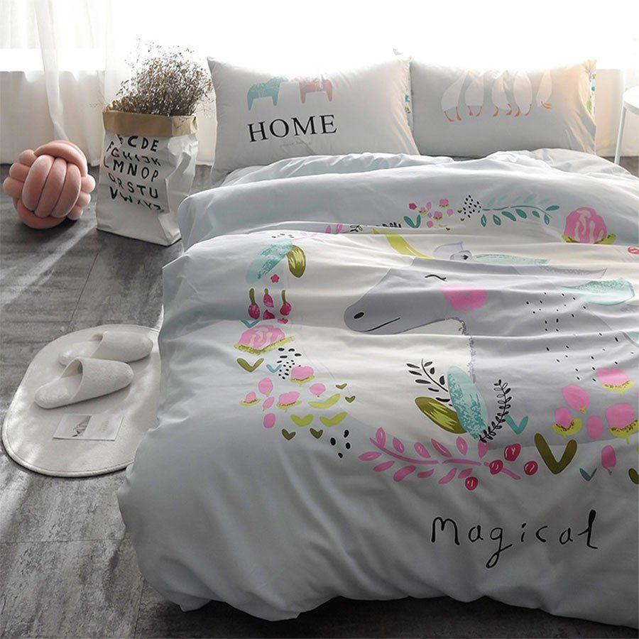 Magical Floral Unicorn Twin Bedding Set   Duvet, Sheet, Pillow Case