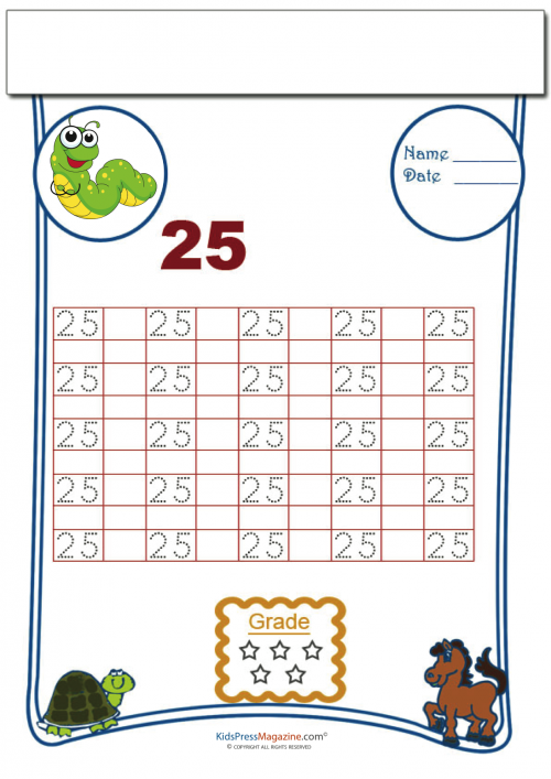Tracing Numbers - 25   Number tracing, Free printable worksheets and ...