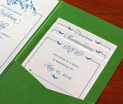 Pocket Folder Wedding Invitation Kits: Pocket Folder For Letterpress Wedding Invitation, I Like