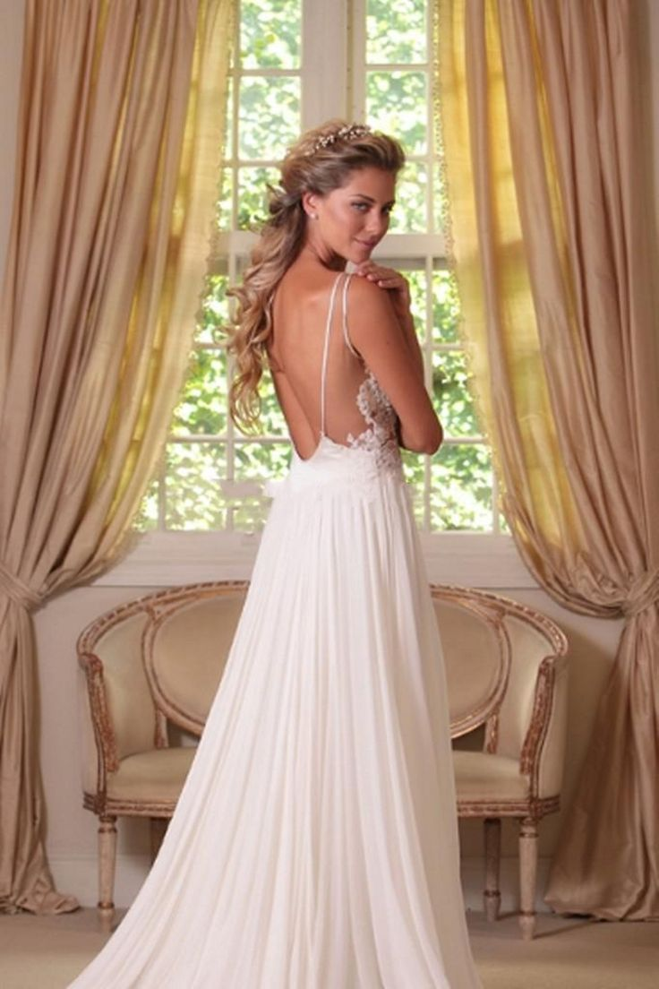 Cheap flowy beach wedding dresses sheer straps v neck lace