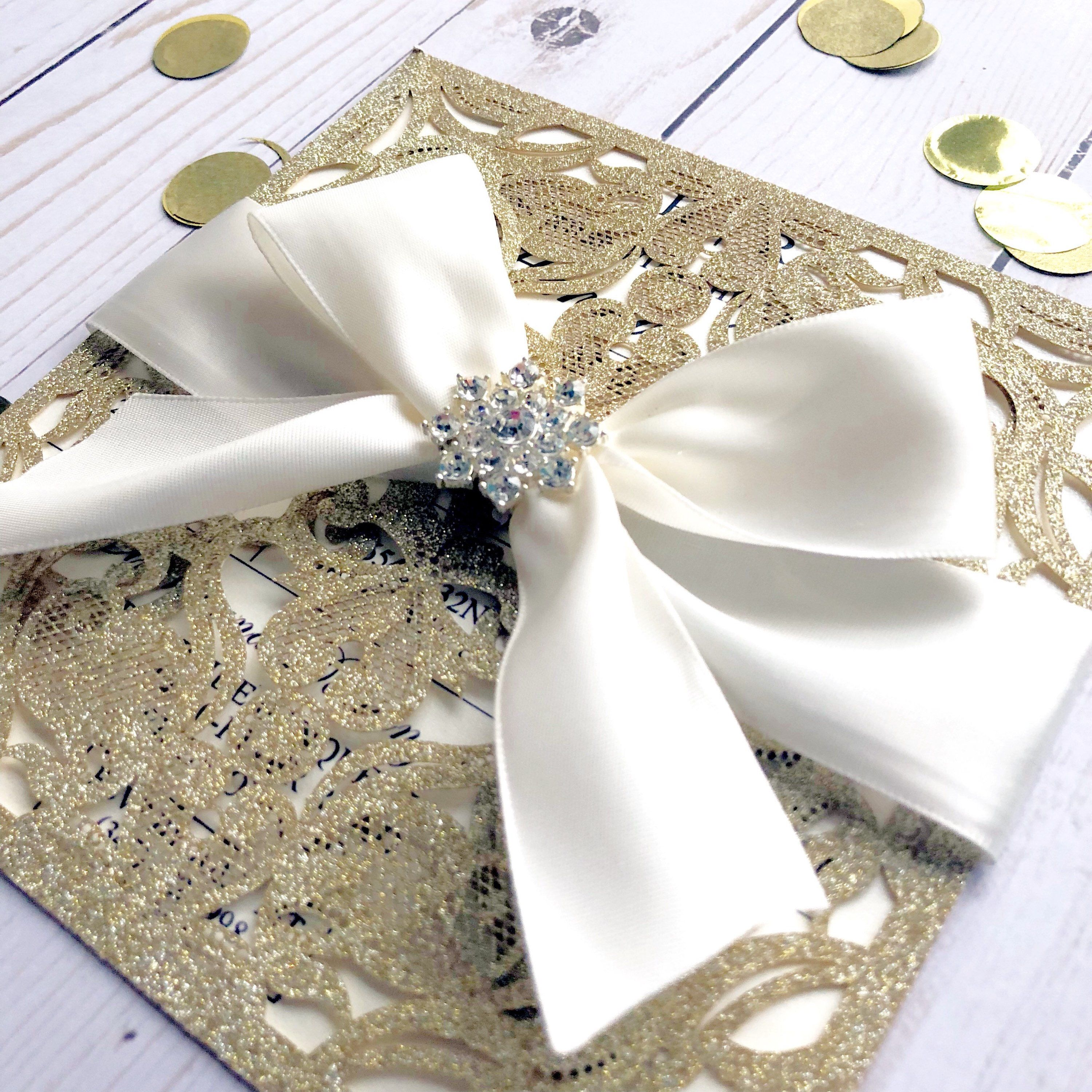Champagne Gold and Ivory Wedding Invitations, Laser Cut Invitations ...
