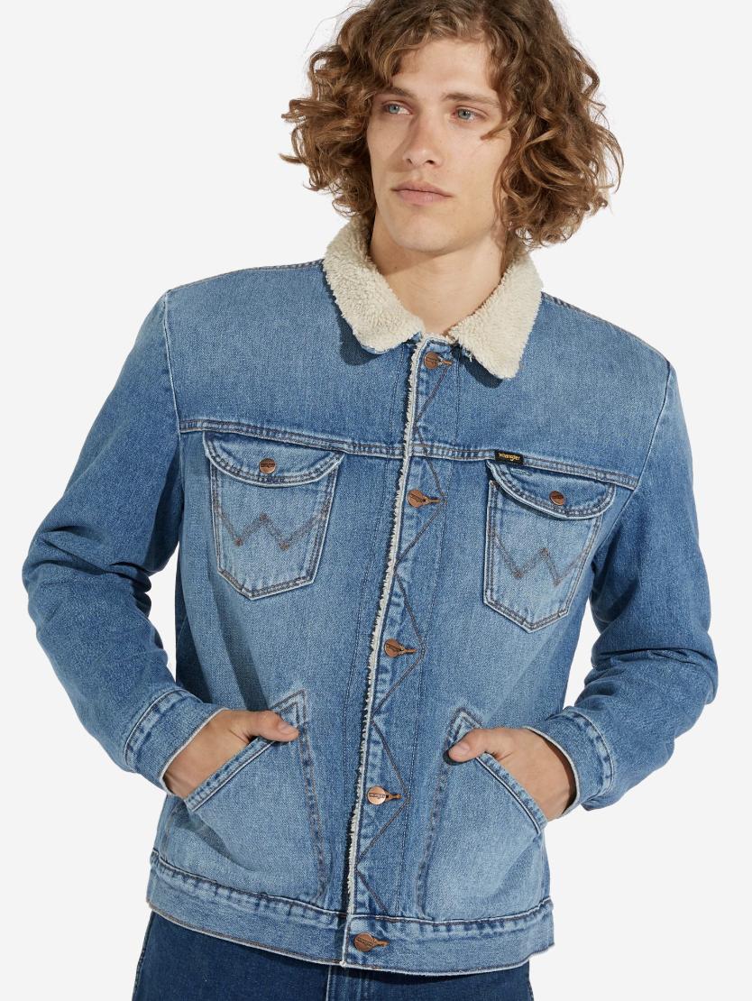 Mens Wrangler Icons 124mj Sherpa Denim Jacket Mid Blue Factory Seconds Wa189 Sherpa Denim Jacket Denim Jacket Jackets [ 1110 x 834 Pixel ]