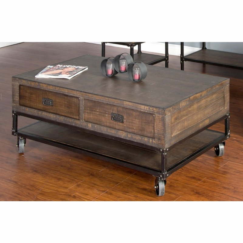 Rustic Brown Coffee Table On Wheels Homestead Products In 2019