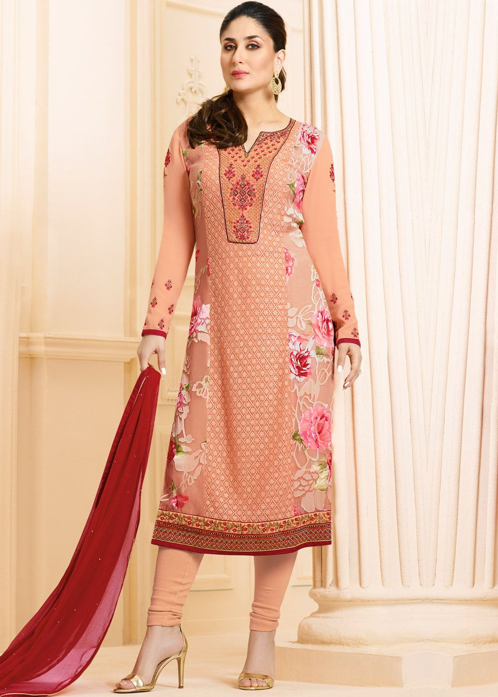2bd0ac6602 #Peach full sleeved straight cut #kameez in #georgette with all over  embroidery and #floral printed side panels.