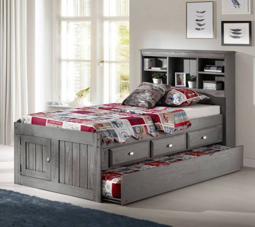 Discovery World Furniture Charcoal Twin Size Bookcase Captains Bed