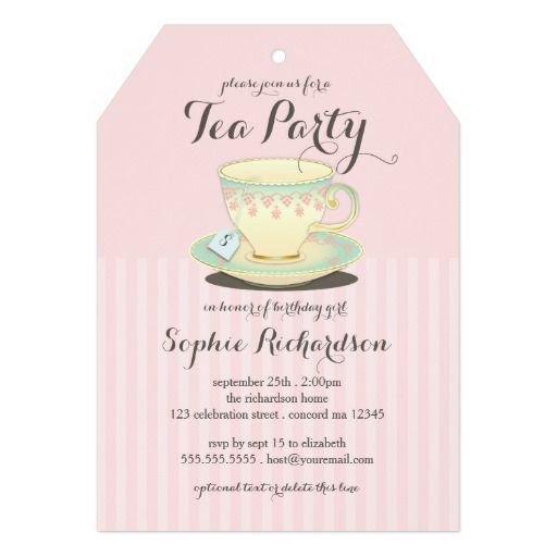 This Deals Chic Teacup on Pink Birthday Tea Party 5x7 Paper - best of invitation card birthday party