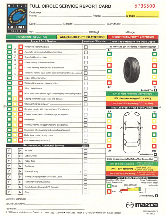 Ford Inspection Report Card 10 Vehicle Inspection Car Mechanic