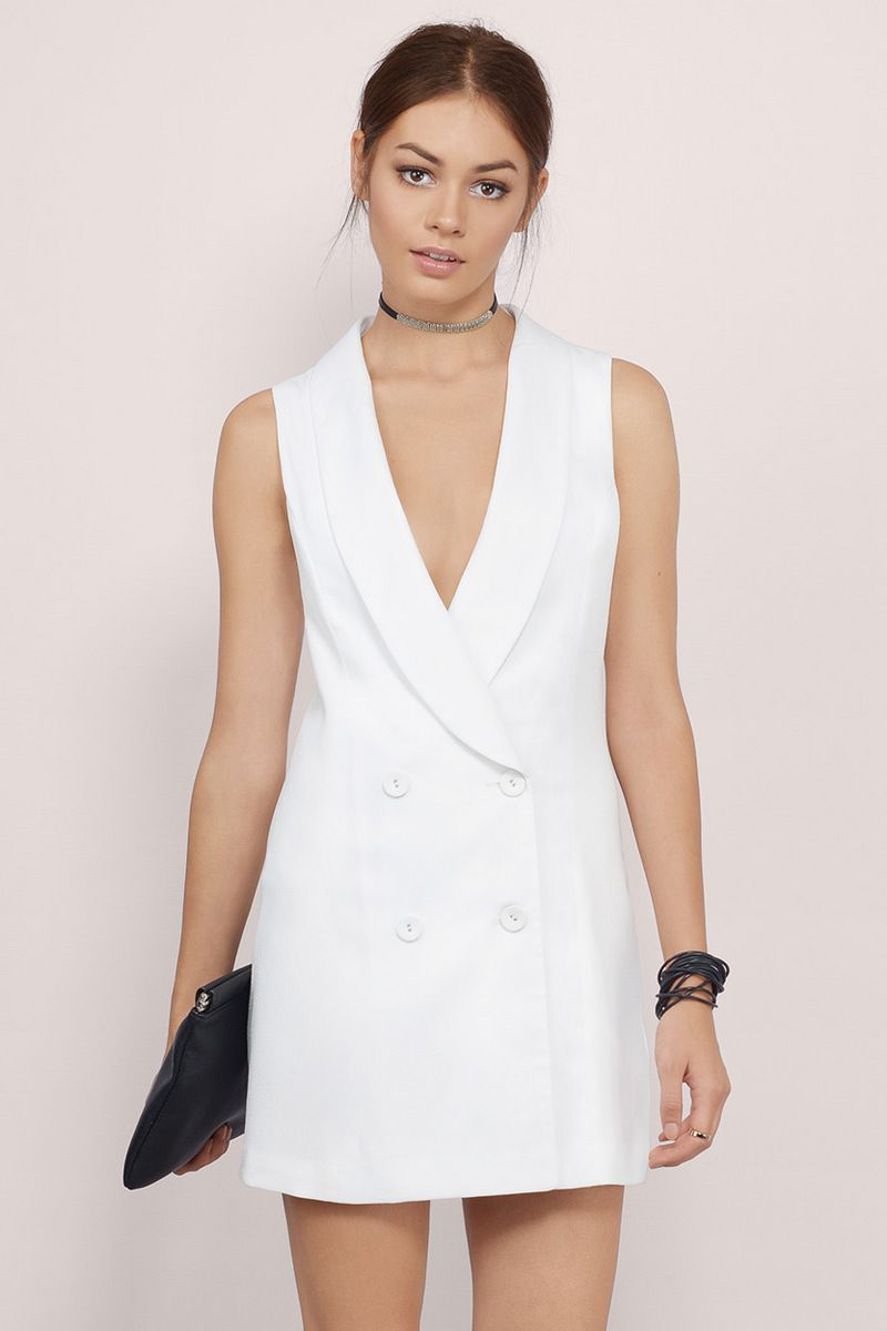 Ladies And Gents Tuxedo Dress In Ivory In 2021 Tuxedo Dress White Sleeveless Dress White Dress [ 1200 x 800 Pixel ]
