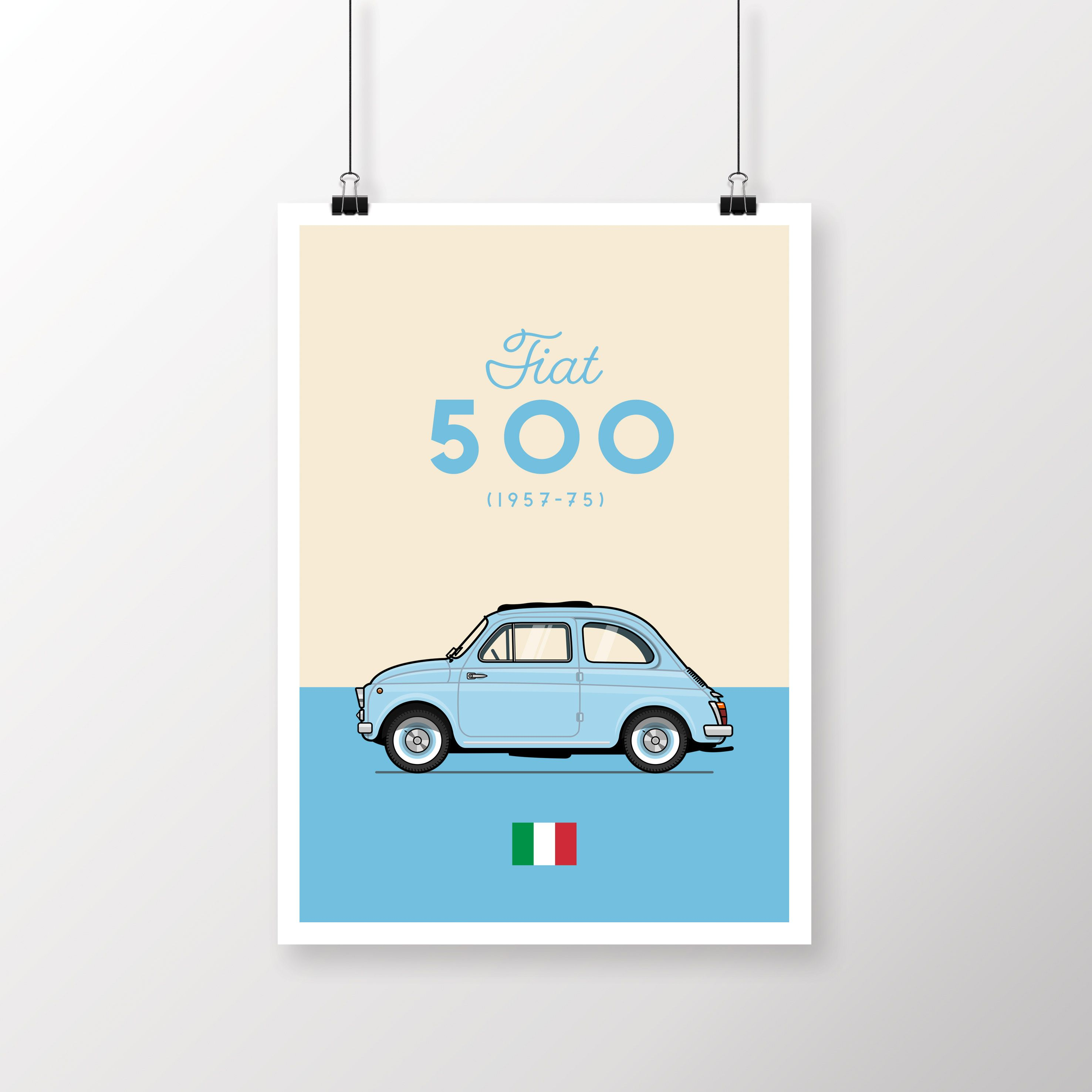 Fiat 500 Classic Car Vintage Poster Giclee Print – Blue