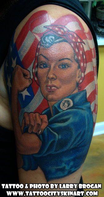 52eeeee49efea Rosie the Riveter, American, Flag, Color tattoo by Larry Brogan. Tattoo  City, Lockport, IL. www.tattoocityskinart.com