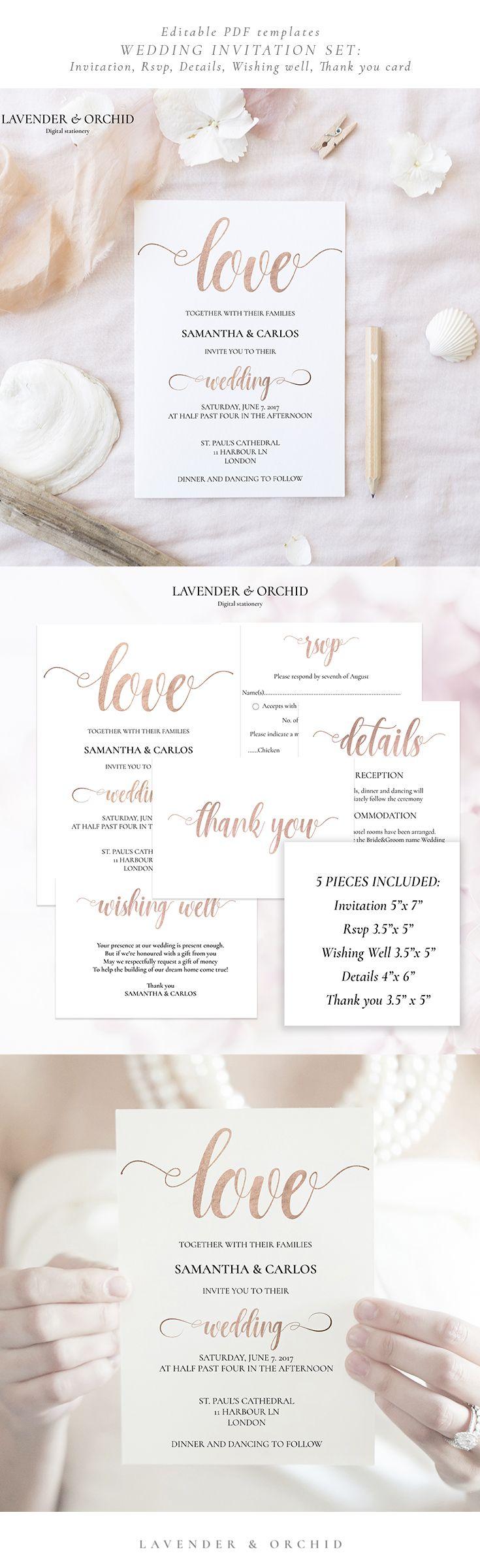 Rose gold Wedding Invitation Set , Invitation template, Printable ...