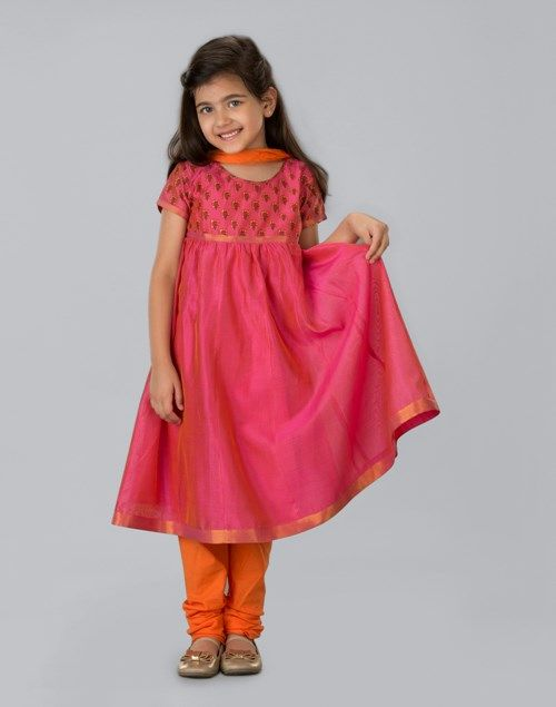 a1ce1dafb Buy Fabindia Pink Silk Cotton Printed Anarkali Churidar Set online -  Fabindia.com