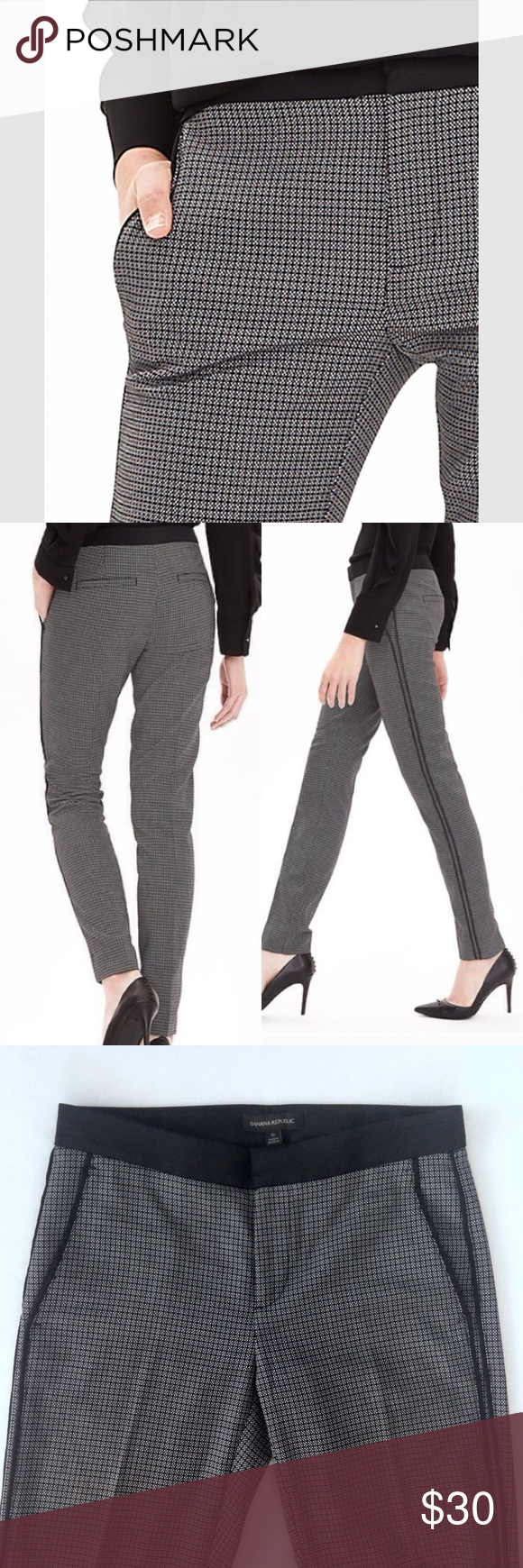 """Banana Republic Jacquard Slim Pants Banana Republic Jacquard Slim pants. Satin-like fabric at waistband and in piping down both legs. Really cute and a nice step up from basic black. Excellent condition - no flaws. Flat lay measurements: 15"""" waist, 28 1/2"""" inseam. Banana Republic Pants"""