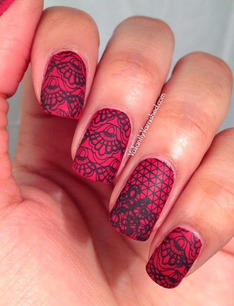 Matte Red and Black Lace #nails #nail #art #manicure