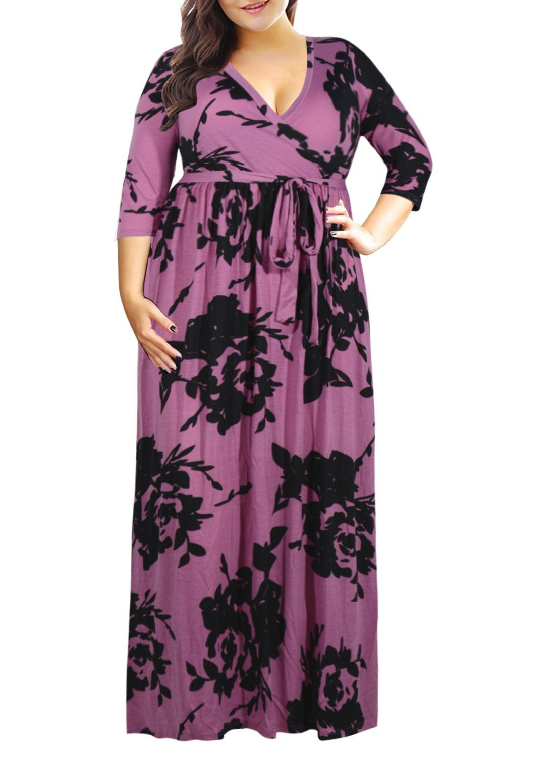 f53f8b45f5fd1 Maternity Fashion - best maternity dresses : Nemidor Womens 3/4 Sleeve Floral  Print Plus Size Casual Party Maxi Dress PurplePrint 16W ** Check out the  image ...
