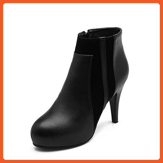 Women's Solid Blend Materials High Heels Round Closed Toe Zipper Boots