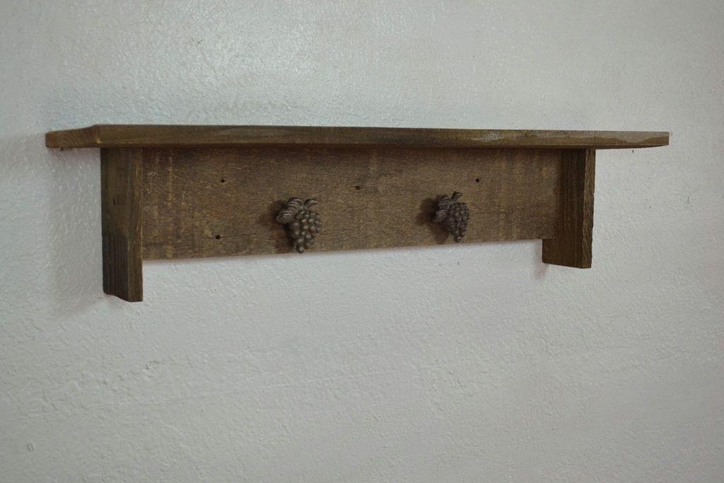 Wall Shelf 24 Wide 5 Deep Reclaimed Wood With Grape Accents Wall Shelves Shelves Wood