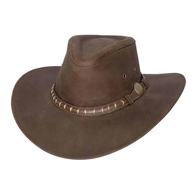 72039ac89e0 -Leather Outback Hat -Pinch Front Crown -Wide Brim -Brown Hat Band with  Stitching