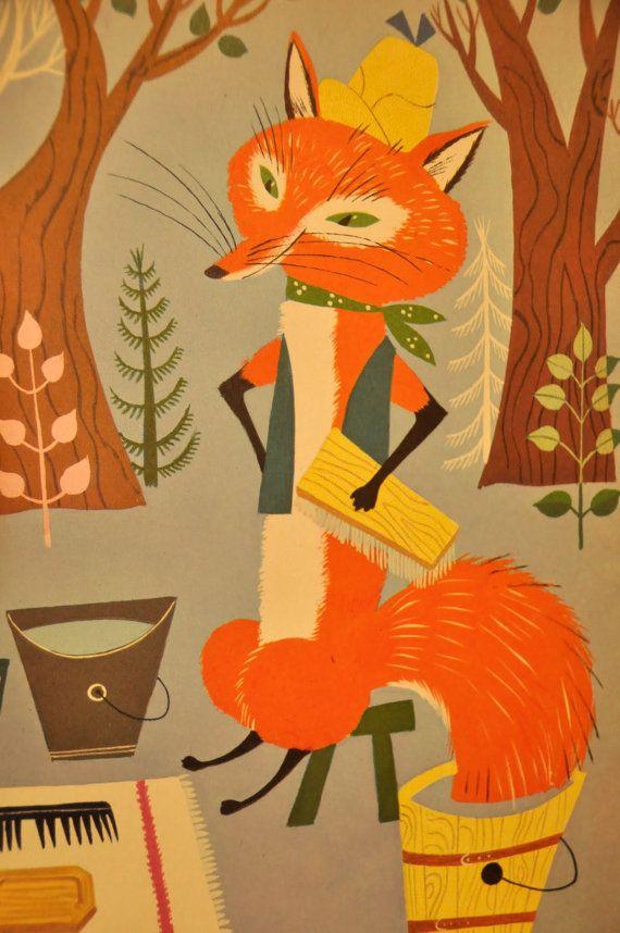 Vintage Children S Book Illustrations 1940 Illustrated Etsy Children S Book Illustration Vintage Illustration Fox Illustration