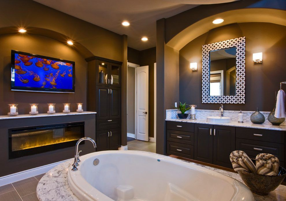 Electric Fireplace Entertainment Bathroom Contemporary With Bathroom Tv  Tile Floor