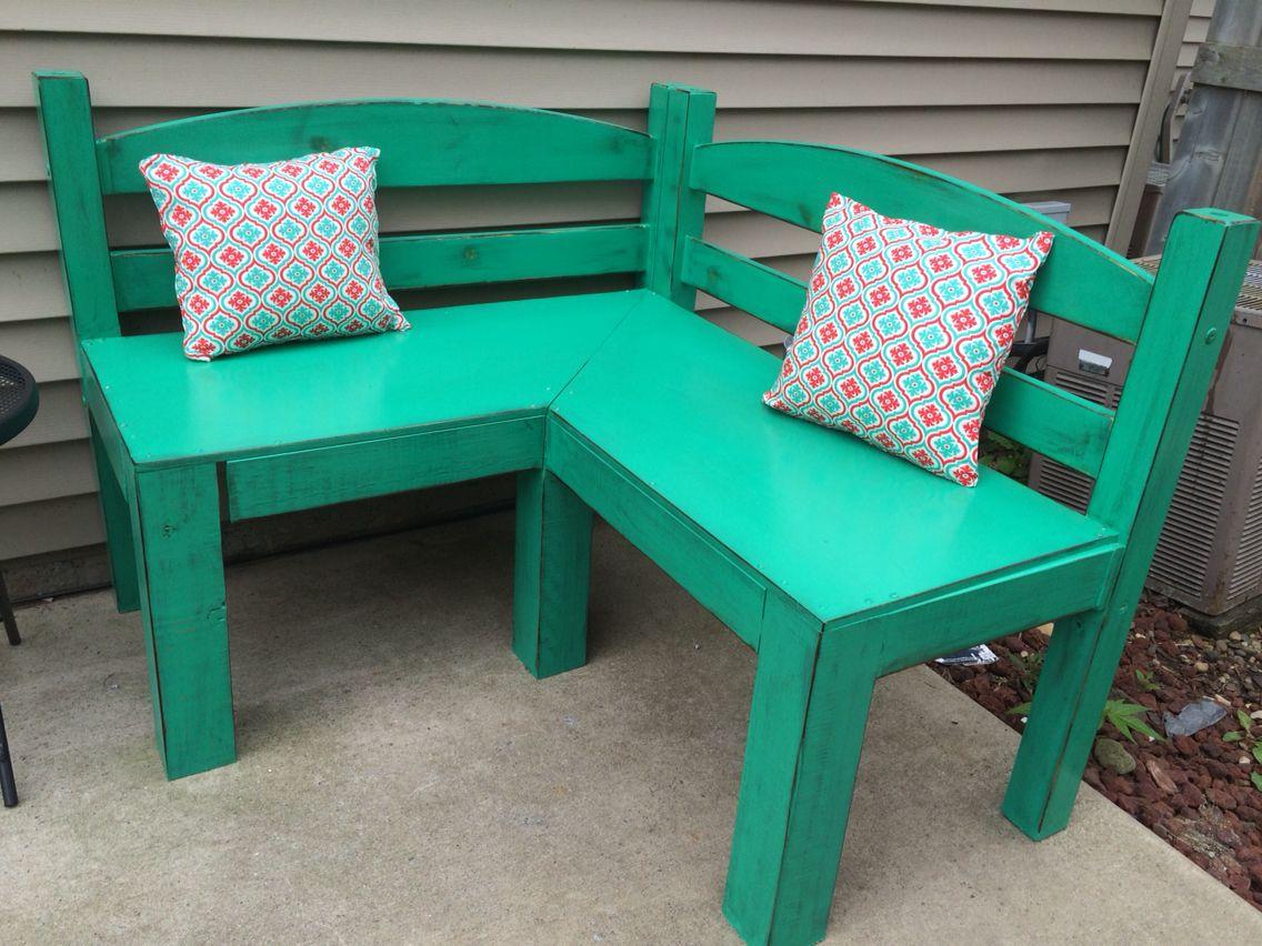 Twin headboard corner bench with cushions I made! Old