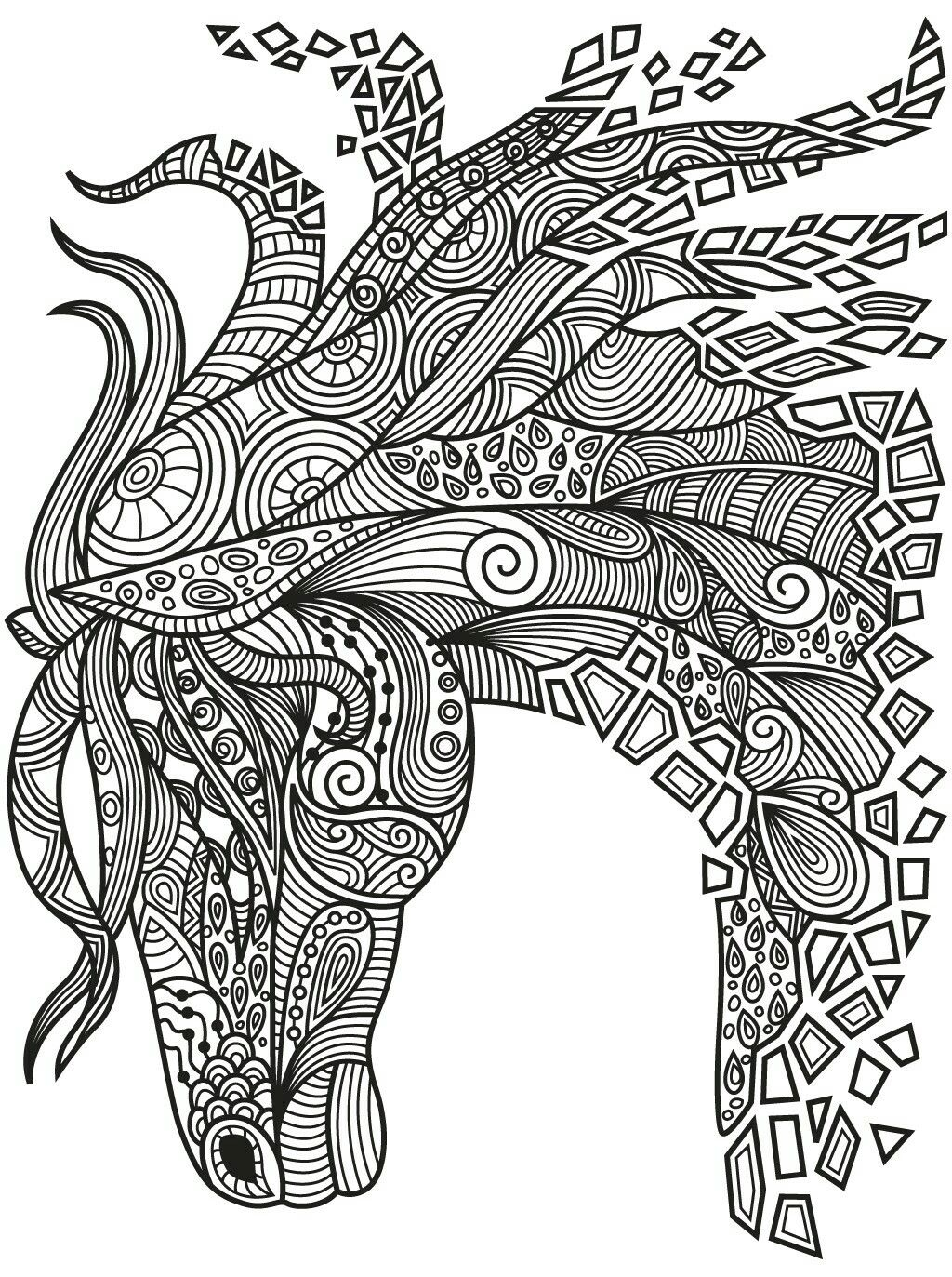 Beautiful zentangle horse Colorish coloring book app