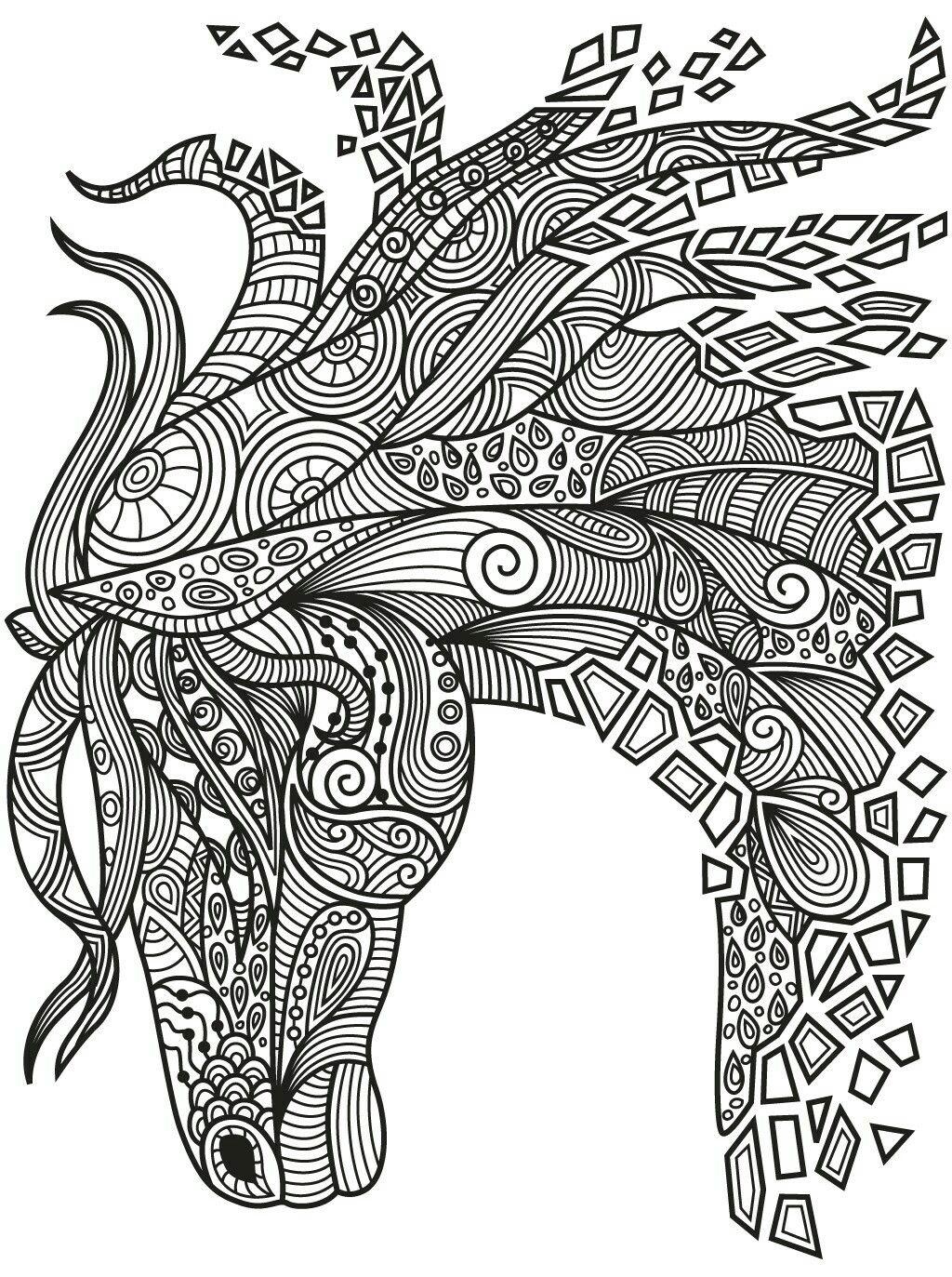 Beautiful Zentangle Horse Colorish Coloring Book App For Adults