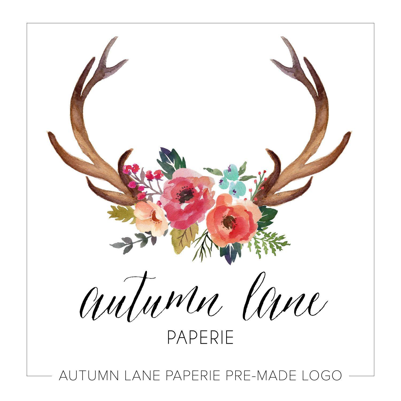 Premade Logo Design - Rustic Deer Antler Logo - Watercolor ...