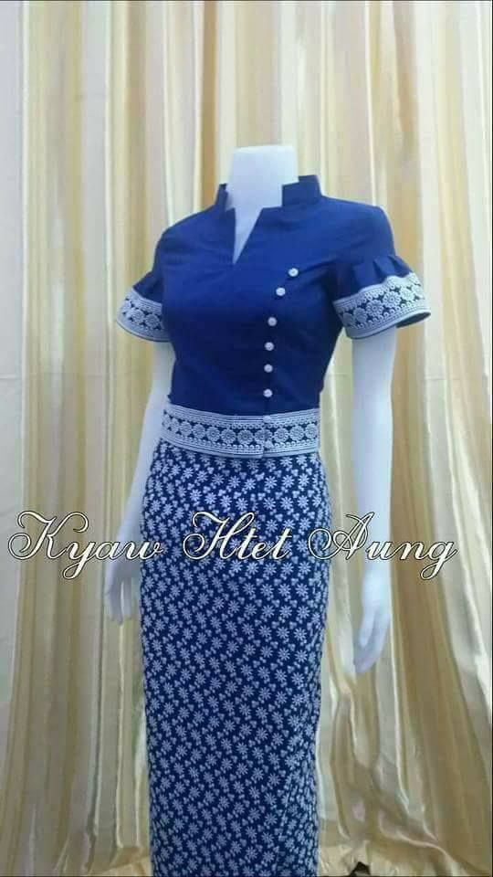 Interesting Mandarin Collar Myanmar Transitional Outfit Cotton Lace
