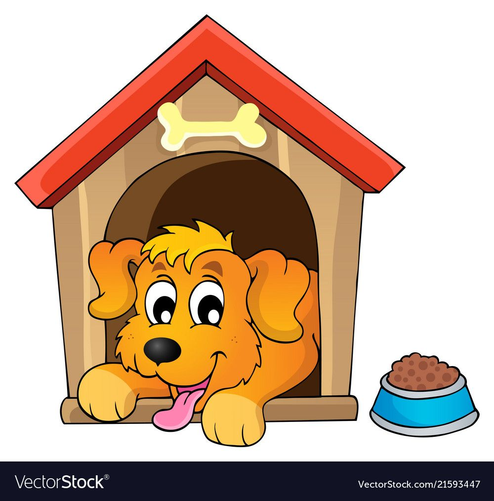 Red Dog House Icon Cartoon Style Vector Image On Dog House Home